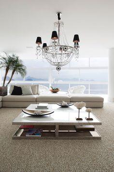 Copacaba Triplex by Carlos Cesar Ferreira Arquitetura modern chandeleir #livingroom #modern