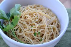 Skinny Spaghetti - Simply toss pasta with 1 1/2 teaspoons olive oil, breadcrumbs, parsley, lemon juice, garlic powder salt, and black pepper