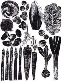 ink alic pattullo, alkaline foods, art, veggie food, kitchen, root vegetables, black, print, food illustrations