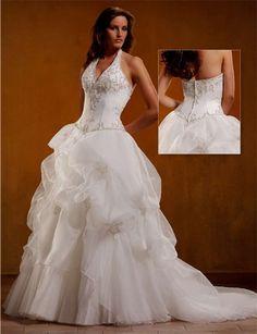 Ball Gown Taffeta Halter Top Wedding Dress