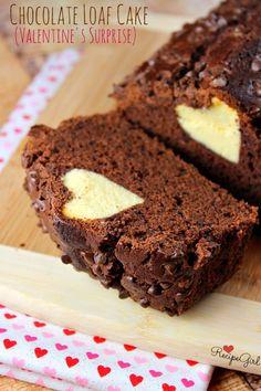 Chocolate Loaf Cake with a Valentine's Surprise Inside - RecipeGirl.com