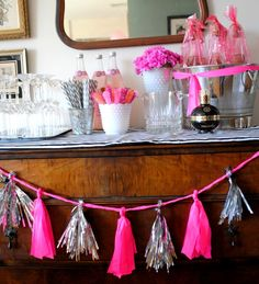 Pink and Black and White party - DIY Tassel Garland