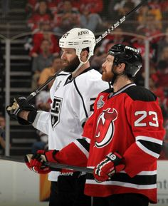 Two of the best playoff beards in the Stanley Cup final belong to the Kings' Dustin Penner, left, and David Clarkson of the Devils. (Bruce Bennett/Getty Images)