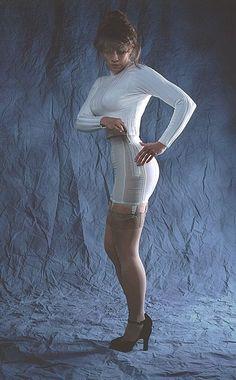White High Waist Open Bottom Garter Girdle Sheer Stockings and Black High Heels