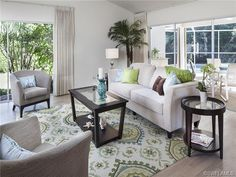 Blue and green - living room - love this rug!!! Pelican Bay in Naples, FL