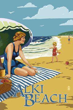 Alki Beach, West Seattle, WA - Woman on Beach - Lantern Press Poster