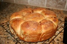Round Rosh Hashanah Challah filled with apples, cinnamon and sugar.