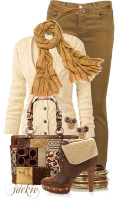 """""""Colored Denim and Coach"""" by jackie22 ❤ liked on Polyvore"""