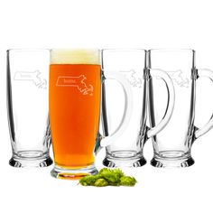 Craft beer mug set etched with the outline of the recipient's home state