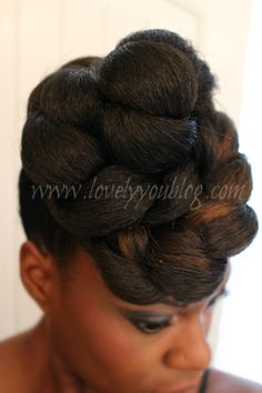 Protective Style for Natural Hair - The High Bun (Quick  Easy Too). This style is also great for transitioning!