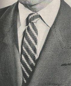 Men's Crochet Tie - CLASSIC STRIPED TIE Vintage Crochet Pattern 1950s Great Christmas Idea. $3.25, via Etsy.