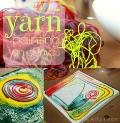 {Yarn Paintings} What a fun collage and painting project!