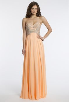 Camille La Vie Chiffon Beaded Strapless Prom Dress