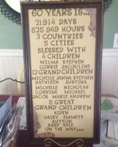 Grandparents 60th anniversary decoration!!