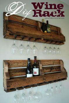 wines, wine racks, wood pallet, wine glass, kitchen