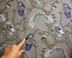 Fabric with owls   Greys blues white  ready to by NewMomDesigns, $15.00