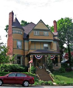 Chimney in a turret..how great is that. Victorian house in Bellefonte PA. photo taken by Paul McClure