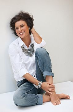 white shirt, jeans and statement necklace