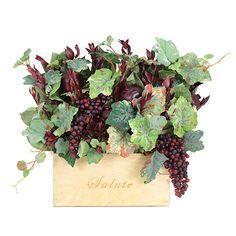 Wine Box Floral Grapes Centerpiece