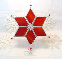 Crimson Christmas Snowflake Star by MoreThanColors on Etsy, $28.50
