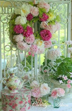 rose, tea time, shabby chic, garden parties, tea tables, spring wreaths, party flowers, summer wreath, peoni
