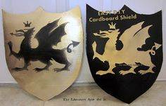 SUPER Easy D.I.Y Cardboard Shield for your Medieval Knight.  Making this for my little one tonight. He will be SO surprised in the morning!!!!