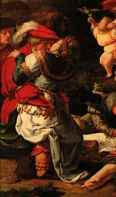 Lucas van Leyden, adoration of the golden calf, right panel, detail