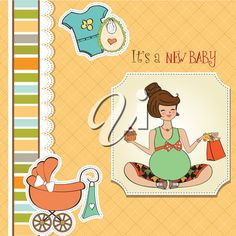 iCLIPART - #Clipart #illustration baby announcement card with pregnant woman