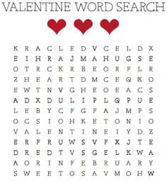 Kids will love looking for some of their favorite words in this V-day word search. | Valentine's Day Printables - Parenting