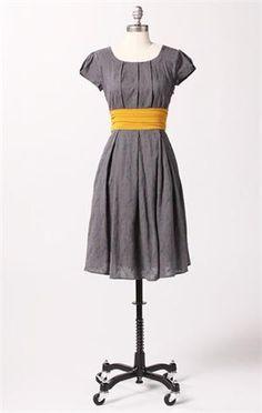 gray + yellow dress