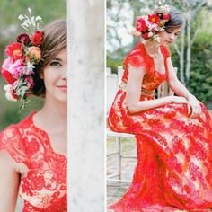 This red lace wedding dress is stunning.