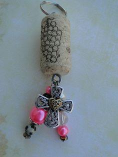 Cross with Wine Cork Keychain @ www.countrygirlbling.etsy.com