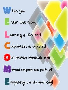 Acrostic Poem Welcome Sign for classroom FREE **use poem for door and incorporate classroom theme/colors**