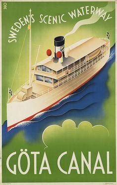 Göta Canal Sweden vintage poster