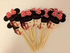 Personalized Minnie mouse photo cupcake toppers. set of 12. $20.00, via Etsy.