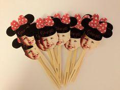 cupcak topper, partiesgift idea, 1st bday, minnie mouse, minni parti, parti idea, minni mous, cupcake toppers, minni 1st