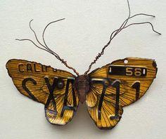 Scrap metal moth by Kari von Wening