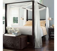 pottery barn farmhouse canopy bed - clean lines