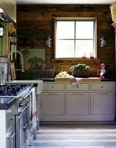 Barnboard walls in kitchen ♥