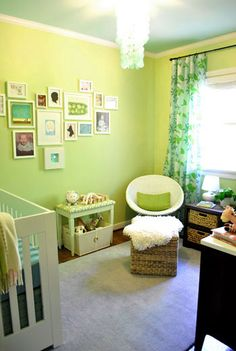 See our sassy green baby room. Get more decorating ideas at http://www.CreativeBabyBedding.com