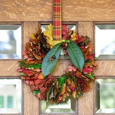 Jazz up your door with this simple fall wreath. More fall decorating: http://www.bhg.com/halloween/outdoor-decorations/pretty-front-entry-decorating-ideas-for-fall/?socsrc=bhgpin101413wreath&page=16