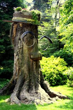Tree stump with nose, tire rim glasses, and fancy hat