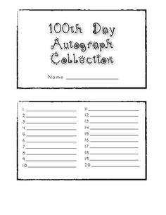 100th Day Autograph Book