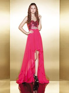 Red High-Low Dress with Sequin Bodice