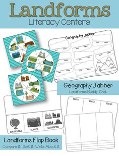 Get your kiddos talking about science! Continents, Oceans and Landforms: This unit includes a 2 week lesson plan, practice activities, graphic organizers, and assessments. Also includes 18 landforms reference charts, a culminating landform building and writing project as well as cross-curricular literacy centers $
