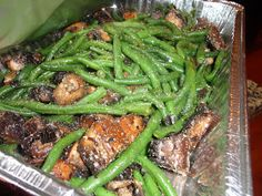 Never trust a skinny cook....: Balsamic parmesan green beans with mushrooms