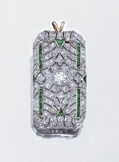 Diamond and emerald pendant brooch, circa 1920.