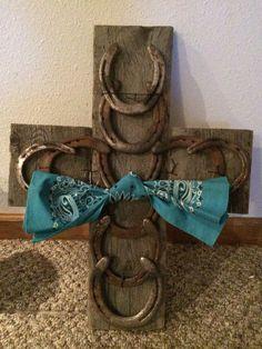 Barn wood horseshoe cross