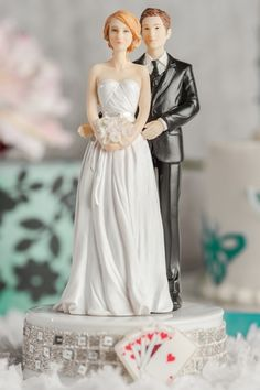 Taking a Gamble Las Vegas Wedding Cake Topper - Custom Hair Colors! $44.95