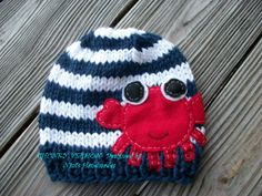 Knit,  Nautical,   NAVY CRAB  Beanie-Hat- Red, White and Blue themed baby crochet hat- Maryland crab inspired baby hat